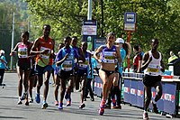 Sara Moreira with Yebrgual Melese during Prague International Marathon 2015 (2).JPG