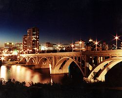 Saskatoon Central Business District skyline at night