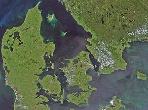 Great Belt - Satellite view over Denmark: The Great Belt is the passage in the center.