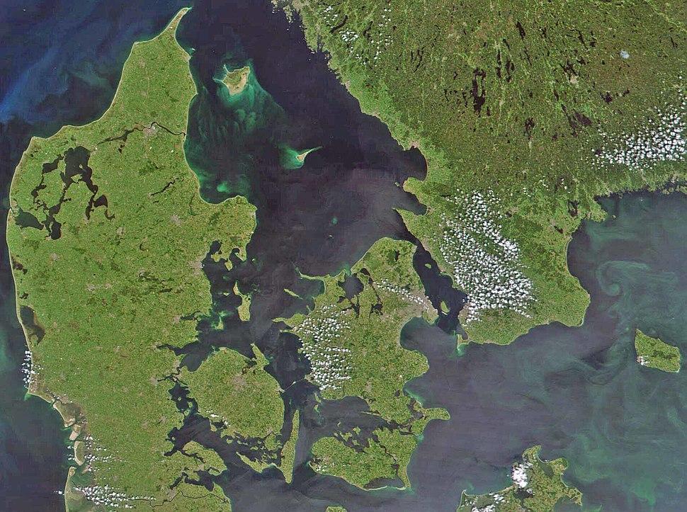Satellite image of Denmark in July 2001