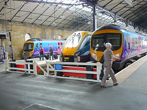Scarborough railway station - Two First TransPennine Express Class 185s and a Midland Mainline Class 222 stand at Platforms 3–5