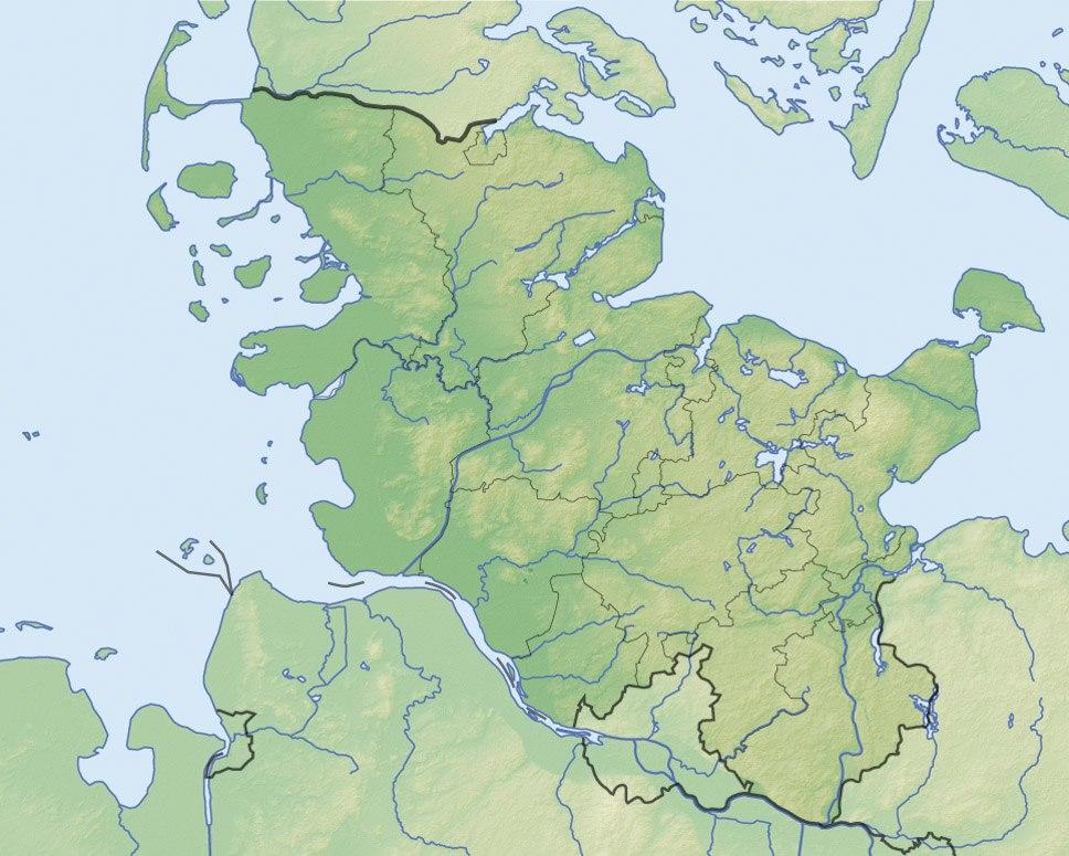 ヘーゼビューとダーネヴィアケの考古学的境界線群の位置(シュレースヴィヒ=ホルシュタイン州内)