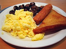 Scrambled eggs veggie sausage mushrooms and fried bread cc flickr user loopzilla.jpg