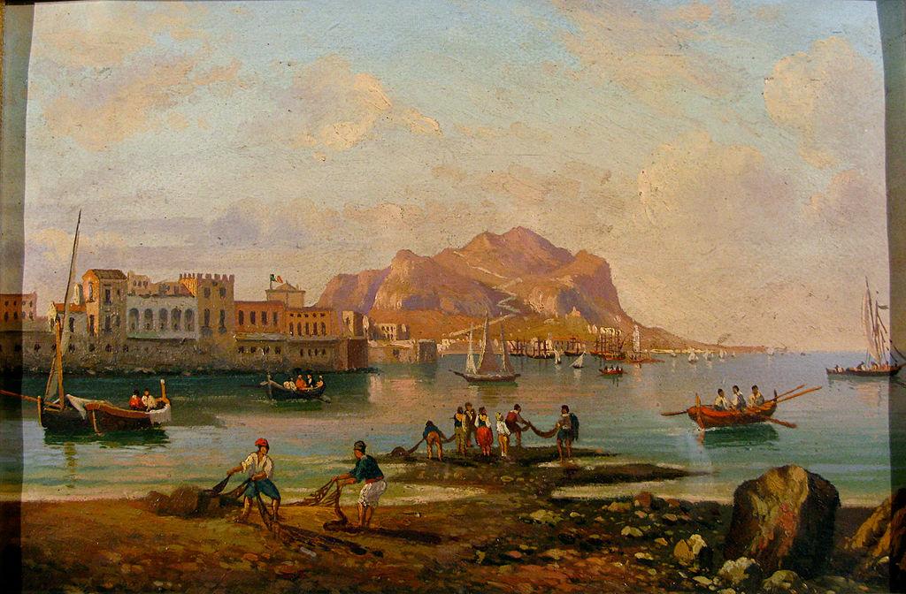 File scuola siciliana secolo xix veduta del golfo di for Piani di fattoria del 19 secolo