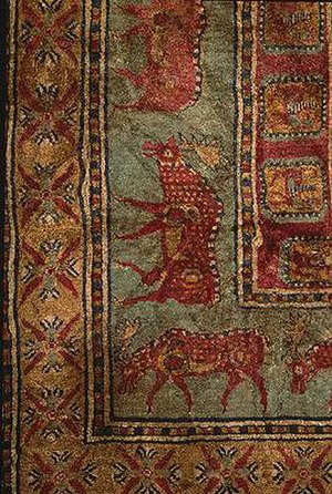 Prehistory of Siberia - Carpet with elk in a line (Pazyryk rug)