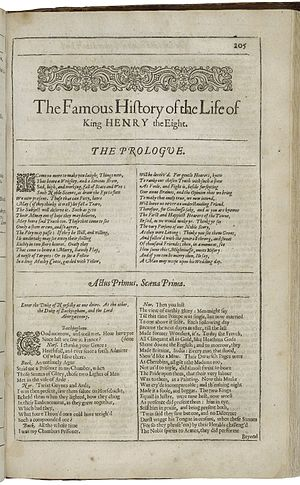 Henry VIII (play) - The first page of The Famous History of the Life of King Henry VIII, printed in the Second Folio of 1632