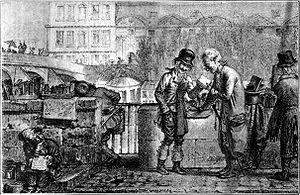 Quai Voltaire - A bookseller on the Quai Voltaire, 1821