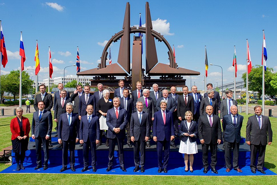 Secretary Kerry Poses With Montenegrin Prime Minister Djukanovic, NATO Secretary-General Stoltenberg, and Fellow NATO Foreign Ministers for a Family Photo at NATO Headquarters in Brussels (27080758736)