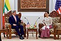 Secretary Kerry Sits with Myanmar Foreign Minister San Suu Kyi before a Bilateral Meeting in Naypyitaw (27131740766).jpg