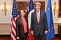 Secretary Kerry and French Minister of the Environment, Energy and Marine Affairs Royal Pose for a Photo Before Their Meeting in Washington (26377106571).jpg