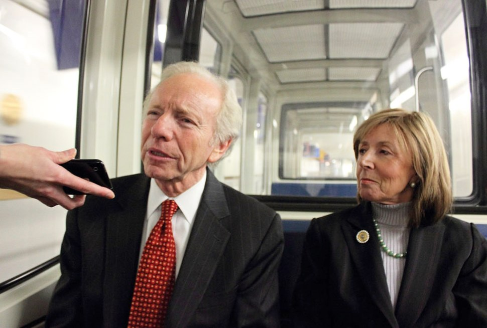 Senator Joe Lieberman and his wife Hadassah on their way to the Capitol in 2011