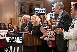 Senators Bernie Sanders and Kirsten Gillibrand rallying for Medicare for All (33711217518)