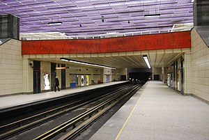 Sherbrooke station - Sherbrooke Metro station platform.