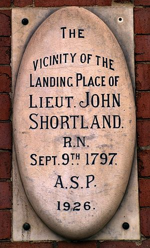 John Shortland - Commemorative plaque of believed landing spot of Lt. John Shortland in Newcastle, formerly known as Coal River. Located on the Longworth building, 131 Scott street, Newcastle.