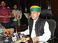 Shri Arjun Ram Meghwal interacting with the media after taking charge as Minister of State for Finance, in New Delhi on July 06, 2016.jpg