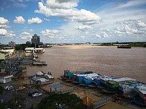 Rajang River - View of Sibu wharf terminal and the Rajang River