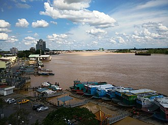 Rajang River - View of Sibu wharf terminal and the Rajang River