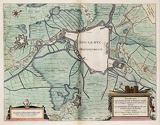 Siege of 's-Hertogenbosch - Map of the siege of Den Bosch in 1629. Joan Blaeu.