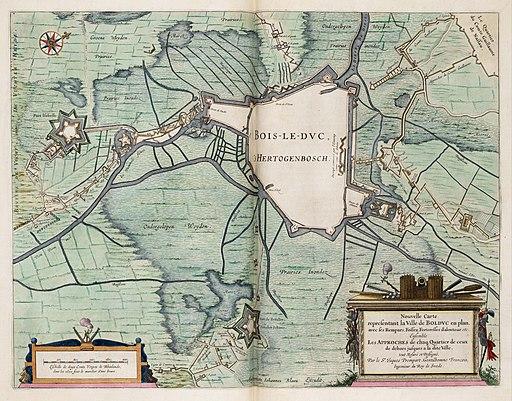 Siege of Den Bosch 1629 - Nouvelle Carte Representant La Ville de Boldvc en plan, avec ses Rempars, Fossez, Forteresses d'alentour, etc (J.Blaeu, 1649)