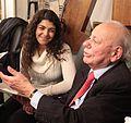 Sigmund Rolat at Congregation Habonim 2015 (sitting with granddaughter of Holocaust Survivors).jpg