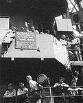 Sign aboard USS Randolph (CV-15), announcing the surrender of Japan on 15 August 1945.jpg