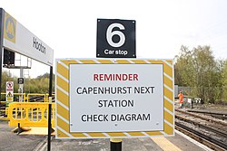 Sign at Hooton railway station (26853862453).jpg