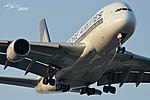 Singapore A380 landing in the runway 34 of Zurich airport (4558617709).jpg