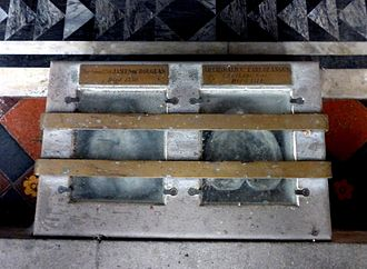 James Douglas, Lord of Douglas - Sir James' heart casket (left) in the floor of his family's mausoleum at St. Bride's