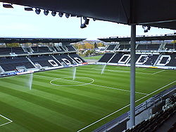 "Skagerak Arena viewed from the ""Sparebank 1""-stand"