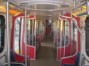 SkyTrain rolling stock - The interior of an older Mark I train