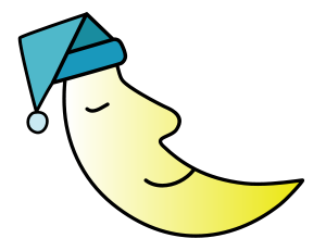 A Sleeping moon in a cap.