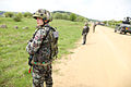 Slovenian soldiers provide security during the Kosovo Force (KFOR) 17 Mission Rehearsal Exercise (MRE) May 9, 2013, at the Joint Multinational Readiness Center in Hohenfels, Germany 130509-A-HJ139-001.jpg