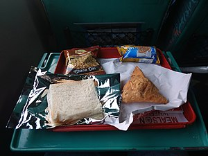 Shatabdi Express - Image: Snacks severed on the Shatabdi Express