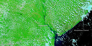 Pungwe River - The Pungwe River in a normal state as seen from NASA MODIS satellite in 2009.