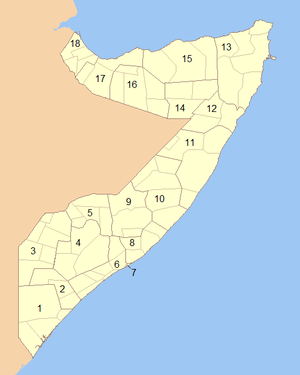 Administrative divisions of Somalia - Image: Somalia Numbered Regions