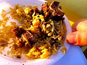 Somali cuisine - A Somali camel meat and rice dish