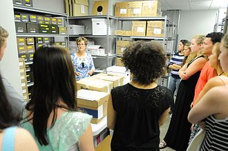 Great American Songbook Foundation - A group of high school students tours the Songbook Archives, which are adjacent to the Foundation's administrative headquarters.