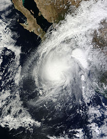 A visible satellite image showing the final tropical cyclone of the 2013 Pacific hurricane season a day before landfall.