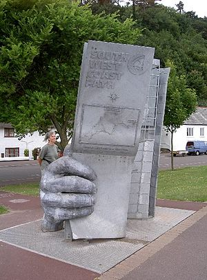 South West Coast Path - Sculpture at the start of the path in Minehead