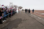 Soyuz MS-08 crewmembers at the airport in Baikonur.jpg