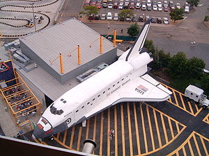 Mockup - The shuttle sitting outside the Space Shuttle America ride is an example of a mockup