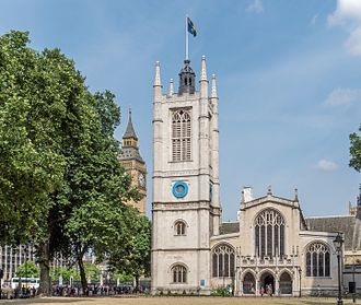 St Margaret's, Westminster - St Margaret's Church, Westminster Abbey. The Central Tower of the Palace of Westminster is in the background.