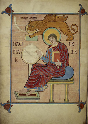 Lindisfarne Gospels - Evangelist portrait of Mark