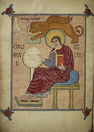 Lindisfarne Gospels - Evangelist portrait of Mark