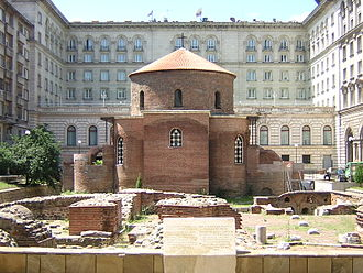History of Sofia - The St. George Rotunda (4th century) and some remains of Serdica can be seen in the foreground