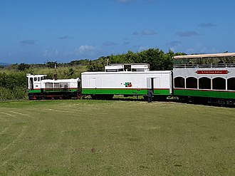 St. Kitts Scenic Railway - View showing locomotive and power car