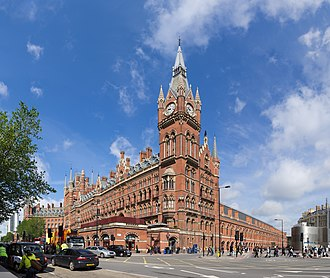 Victorian architecture - St. Pancras railway station and Midland Hotel in London, opened in 1868, is an example of the Gothic Revival style of architecture with Ruskinian influences. The station eclectically combined elements of Gothic architecture and other styles with materials and scale made possible by the Industrial Revolution.