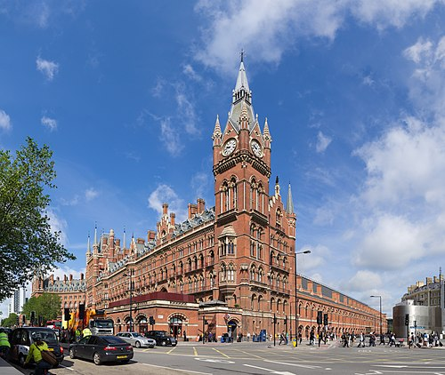 St. Pancras railway station and Midland Hotel in London, opened in 1868 St Pancras Railway Station 2012-06-23.jpg