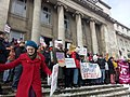 Staff and students protesting on the steps of the Leeds University Parkinson Building.jpg