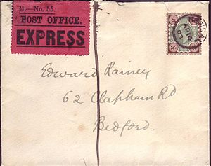 Express mail - 1903 4d Express mail cover from Kendall-Bedford with red official Royal Mail express label affixed. The vertical line also indicates that express service is required.